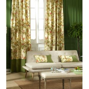 ( One Panel ) Country Floral Beige Print Cotton Room Darkening Curtains -835