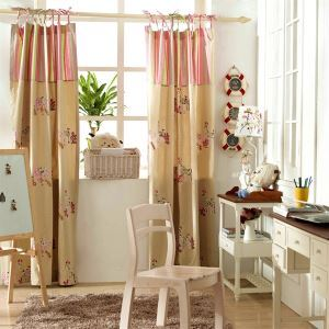 ( One Panel ) Modern Animal Beige  Embossed  Cotton Room Darkening Curtains -836