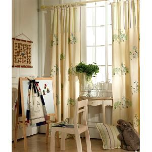 ( One Panel ) Modern Animal Beige and Green Embossed  Cotton Room Darkening Curtains -837