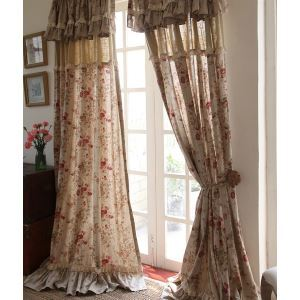 ( One Panel ) Country Floral Beige Print Cotton Room Darkening Curtains -840