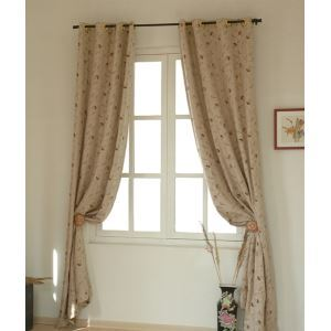 ( One Panel ) Country Floral Nature Embossed Linen Room Darkening Curtains -841