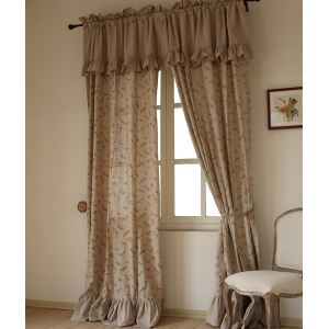 ( One Panel ) Country Floral Nature Print Linen Room Darkening Curtains -842