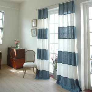 ( One Panel ) Modern Stripe White and Bule Linen Energy Saving Curtains -843