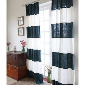 ( One Panel ) Modern Stripe Dark Blue and White Linen Energy Saving Curtains -844
