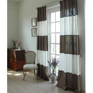 ( One Panel ) Modern Stripe White and Mocha Linen Energy Saving Curtains-845