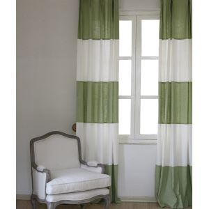 ( One Panel ) Modern Stripe White and Green Linen Energy Saving Curtains-846