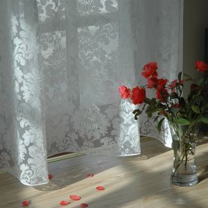 ( One Panel ) Modern Floral White Jacquard Polyester Sheer Curtains--854