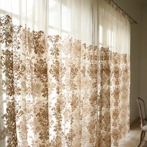 ( One Panel ) Modern Floral Yellow Embossed Sheer Curtains-855