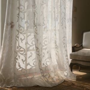 ( One Panel ) Modern Floral White Jacquard Polyester Sheer Curtains-856