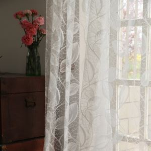( One Panel ) Modern Floral White Jacquard Polyester Sheer Curtains-857