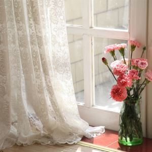 ( One Panel ) Modern Floral White Jacquard Polyester Sheer Curtains-860