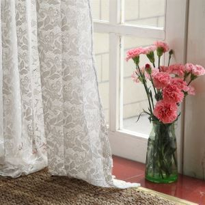 ( One Panel ) Modern Floral White Jacquard Polyester Sheer Curtains-861