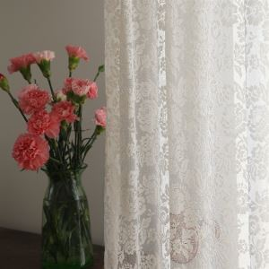 ( One Panel ) Modern Floral White Jacquard Polyester Sheer Curtains-863