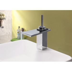 Modern Contemporary Waterfall Basin Faucet With Single Lever Bathroom Taps (MS100)