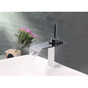 Modern Contemporary Waterfall Basin Faucet With Single Lever Bathroom Taps (MS101)