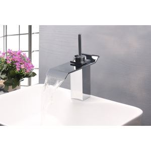 Modern Contemporary Waterfall Basin Faucet With Single Lever Bathroom Taps (MS102)
