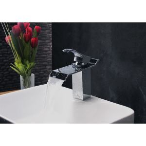 Contemporary Modern Waterfall Basin Faucet With Single Handle Bathroom Taps (MS103)