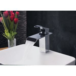 Contemporary Modern Waterfall Basin Faucet With Single Handle Bathroom Taps (MS104)