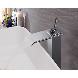 Modern Contemporary Waterfall Basin Faucet With Single Lever Bathroom Taps (MS110)