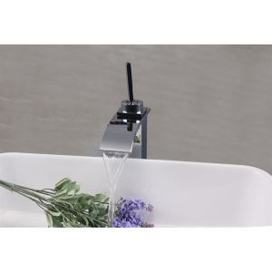 Modern Contemporary Waterfall Basin Faucet With Single Lever Bathroom Taps (MS113)