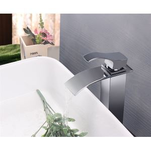 Modern Contemporary Waterfall Basin Faucet With Single Lever Bathroom Taps (MS114)