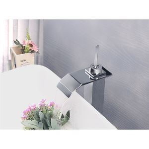 Modern Contemporary Waterfall Basin Faucet With Single Lever Bathroom Taps (MS116)