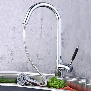 Modern Single Handle Solid Brass Chrome Finish Pull-out Kitchen Faucet (MK02)