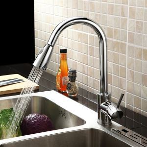 Modern Single Handle Solid Brass Chrome Finish Pull-out Kitchen Faucet (MK04)