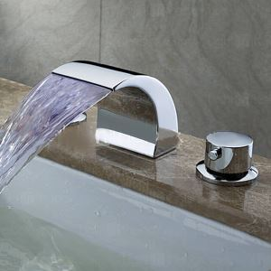 LED Solid Brass Chrome Finish Waterfall Widespread Bathroom Sink Faucet (LPT19-1)