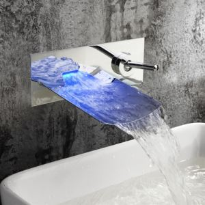 Chrome Color Changing Faucet LED Waterfall Wall Mount Bathroom Sink Tap