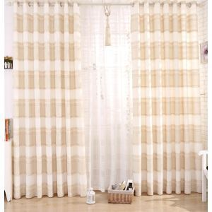 ( One Panel )  Modern Print Beige Plaid Polyester & Linen Sheer Curtains
