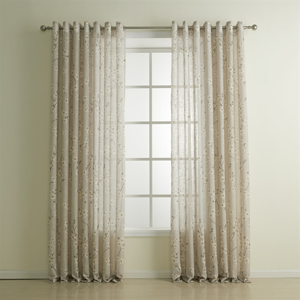 Sheer Curtains beige sheer curtains : Curtains - Sheer Curtains - ( One Panel ) Country Print Beige Plum ...