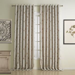 ( One Panel )  Modern Jacquard Beige Embroidered Floral Pattern Energy Saving Curtains-1312