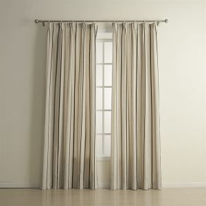 ( One Panel )  Country Jacquard Grey Stripe Pattern Linen Energy Saving Curtains-1320