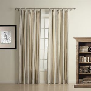 Energy Saving Curtain Jacquard Stripe Linen Custom Window Treatment-1321 ( One Panel )