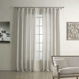 ( One Panel )  Country Jacquard Grey Stripe Pattern Linen Energy Saving Curtains-1322
