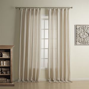 ( One Panel )  Country Jacquard Coffee&Yellow Stripe Pattern Linen Energy Saving Curtains-1323