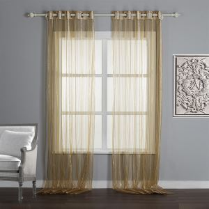 ( One Panel )  Modern Print Brown Stripe Minimalist Luxury Pattern Linen & Silk-Fabric Sheer Curtains