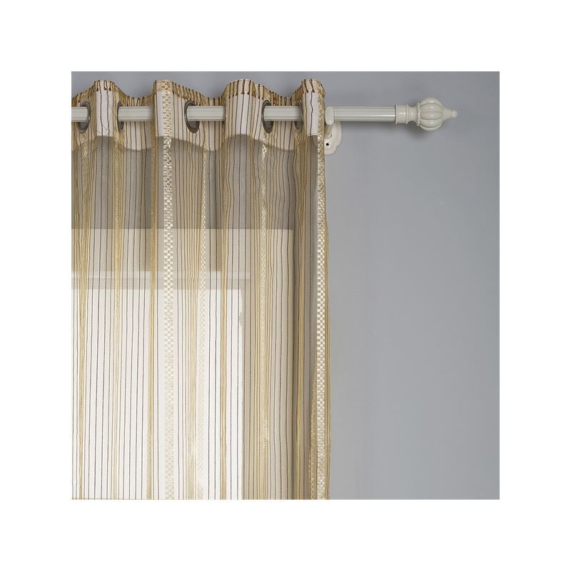 Modern Sheer Curtain Jacquard Brown Stripe Linen Silk