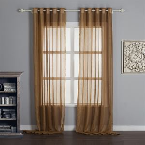 ( One Panel )  Modern Print Coffee Stripe  Pattern Natural Linen Sheer Curtains