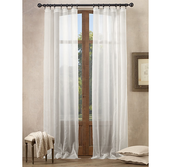 Curtains Sheer Curtains One Panel Mediterranean Classical Solid White Polyester Sheer