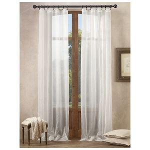 ( One Panel )  Mediterranean Classical Solid White Polyester Sheer Curtains