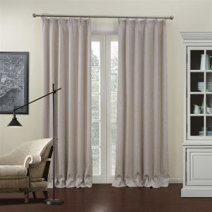 ( One Panel )  Country Jacquard Beige Solid Pattern Linen Energy Saving Curtains-701