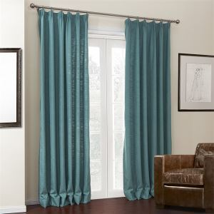 ( One Panel )  Mediterranean Jacquard Natural Blue Solid  Thick Texture Pattern Linen Room Darkening Curtains-660