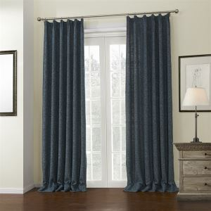 ( One Panel )  Mediterranean Jacquard Dark Blue Natural Solid Thick Texture in Doubled Color Pattern Linen Room Darkening Curtains-662