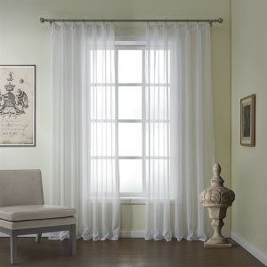 ( One Panel )  Modern Embossed White Classical Pattern Linen & Polyester Sheer Curtains