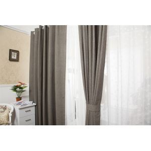 ( One Panel )  Modern Jacquard Grey Solid Pattern Faux Linen Room Darkening Curtains ( ML9165 )