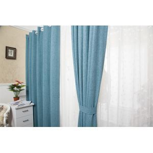 ( One Panel )  Modern Jacquard Blue Solid Pattern Faux Linen Room Darkening Curtains ( ML9165-3 )