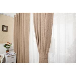 ( One Panel )  Modern Jacquard Brown & Coffee Solid Pattern Faux Linen Room Darkening Curtains ( ML9165-4 )
