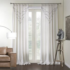 ( One Panel )  Mediterranean White Solid with Stripe Pattern Chenille Energy Saving Curtains